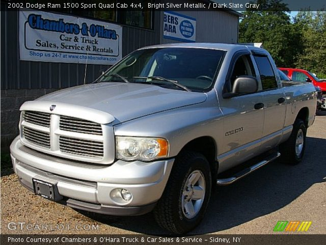 bright silver metallic 2002 dodge ram 1500 sport quad cab 4x4 dark slate gray interior. Black Bedroom Furniture Sets. Home Design Ideas