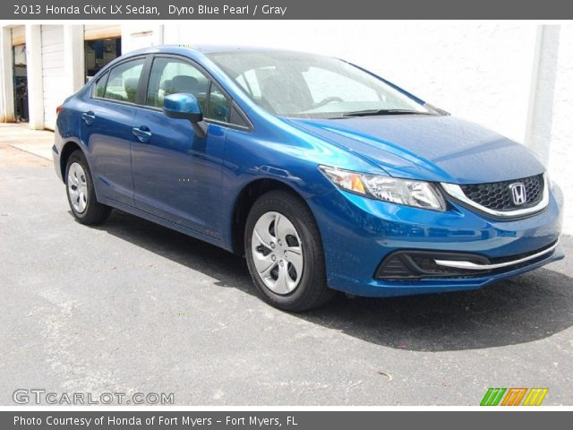 dyno blue pearl 2013 honda civic lx sedan gray interior vehicle archive. Black Bedroom Furniture Sets. Home Design Ideas