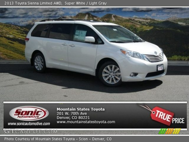 super white 2013 toyota sienna limited awd light gray. Black Bedroom Furniture Sets. Home Design Ideas