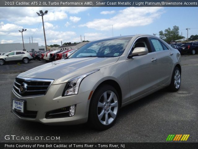 silver coast metallic 2013 cadillac ats 2 0l turbo performance awd light platinum brownstone. Black Bedroom Furniture Sets. Home Design Ideas