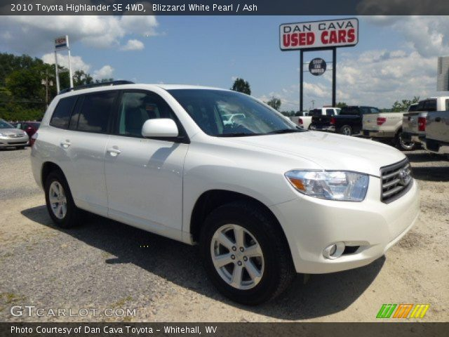 blizzard white pearl 2010 toyota highlander se 4wd ash. Black Bedroom Furniture Sets. Home Design Ideas