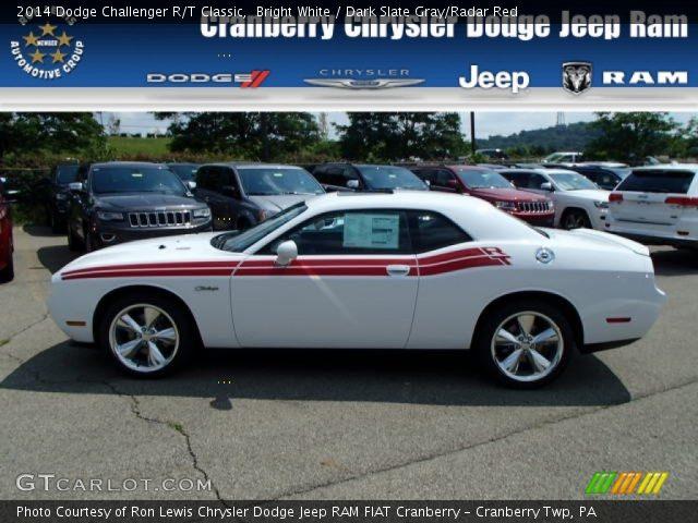 Bright White 2014 Dodge Challenger R T Classic Dark Slate Gray Radar Red Interior Gtcarlot
