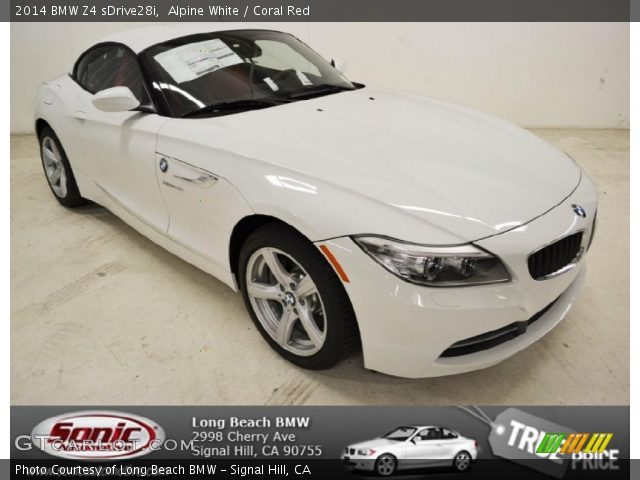 alpine white 2014 bmw z4 sdrive28i coral red interior. Black Bedroom Furniture Sets. Home Design Ideas