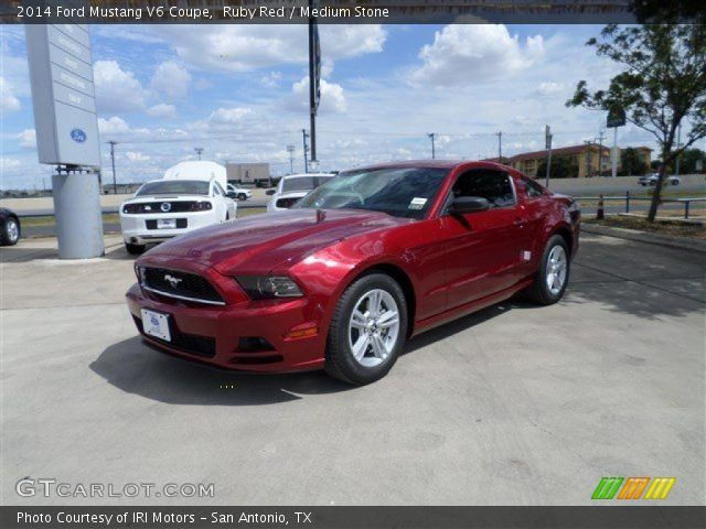 ruby red 2014 ford mustang v6 coupe medium stone interior vehicle archive. Black Bedroom Furniture Sets. Home Design Ideas
