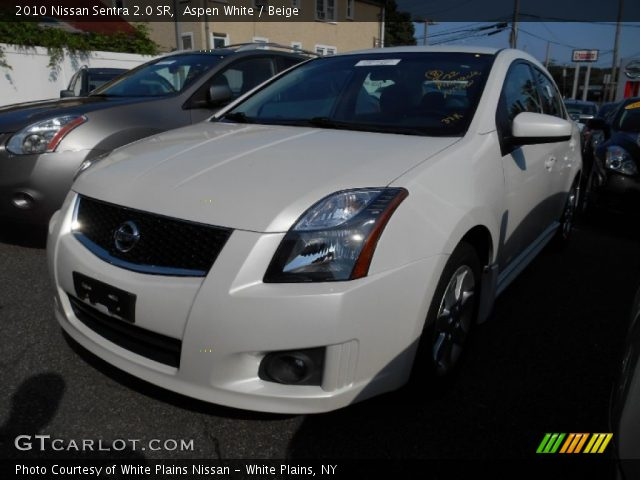 aspen white 2010 nissan sentra 2 0 sr beige interior vehicle archive 85066992. Black Bedroom Furniture Sets. Home Design Ideas