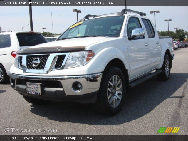 avalanche white 2010 nissan frontier le crew cab 4x4 steel interior vehicle. Black Bedroom Furniture Sets. Home Design Ideas