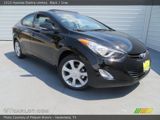 Black 2013 Hyundai Elantra Limited Gray Interior