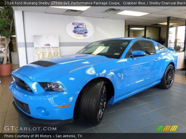 grabber blue 2014 ford mustang shelby gt500 svt performance package coupe shelby charcoal. Black Bedroom Furniture Sets. Home Design Ideas