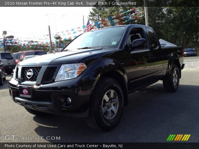super black 2010 nissan frontier pro 4x king cab 4x4 graphite red interior. Black Bedroom Furniture Sets. Home Design Ideas
