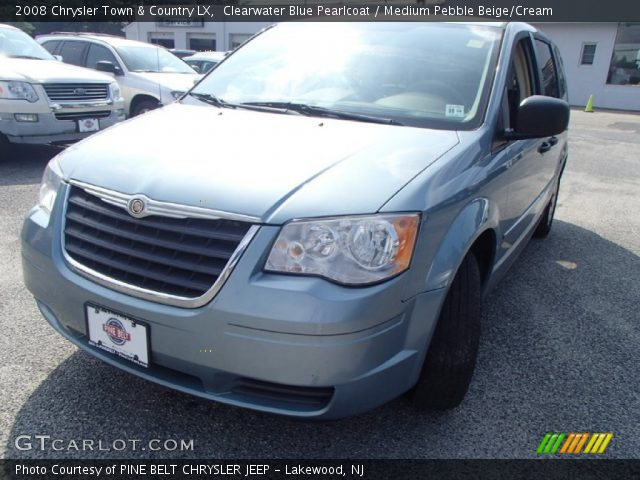 clearwater blue pearlcoat 2008 chrysler town country lx medium pebble beige cream interior. Black Bedroom Furniture Sets. Home Design Ideas
