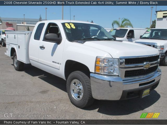 summit white 2008 chevrolet silverado 2500hd work truck extended cab 4x4 utility ebony black. Black Bedroom Furniture Sets. Home Design Ideas