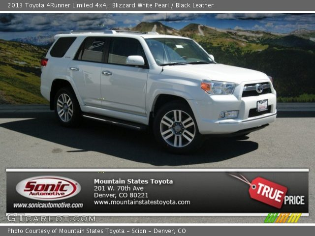 blizzard white pearl 2013 toyota 4runner limited 4x4 black leather interior. Black Bedroom Furniture Sets. Home Design Ideas