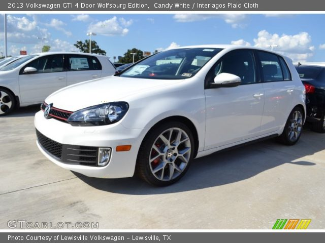 candy white 2013 volkswagen gti 4 door wolfsburg edition interlagos plaid cloth interior. Black Bedroom Furniture Sets. Home Design Ideas