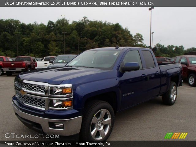 blue topaz metallic 2014 chevrolet silverado 1500 lt double cab 4x4 jet black interior. Black Bedroom Furniture Sets. Home Design Ideas