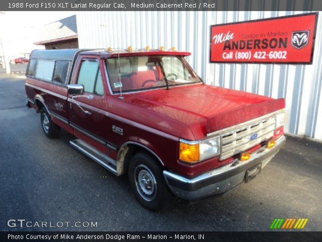 medium cabernet red 1988 ford f150 xlt lariat regular cab red interior. Black Bedroom Furniture Sets. Home Design Ideas