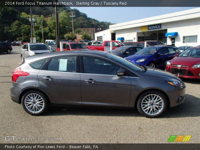 sterling gray 2014 ford focus titanium hatchback tuscany red interior. Black Bedroom Furniture Sets. Home Design Ideas