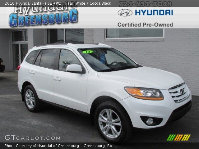 pearl white 2010 hyundai santa fe se 4wd cocoa black interior vehicle. Black Bedroom Furniture Sets. Home Design Ideas