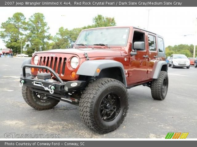 Red Rock Crystal Pearl 2007 Jeep Wrangler Unlimited X 4x4 Dark Slate Gray Medium Slate Gray