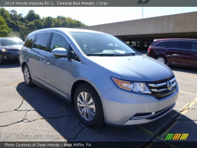 celestial blue metallic 2014 honda odyssey ex l gray interior vehicle. Black Bedroom Furniture Sets. Home Design Ideas