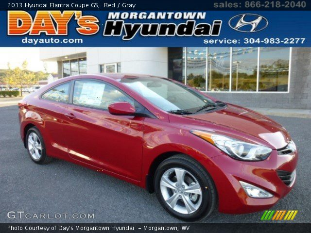 red 2013 hyundai elantra coupe gs gray interior vehicle archive 86260758. Black Bedroom Furniture Sets. Home Design Ideas