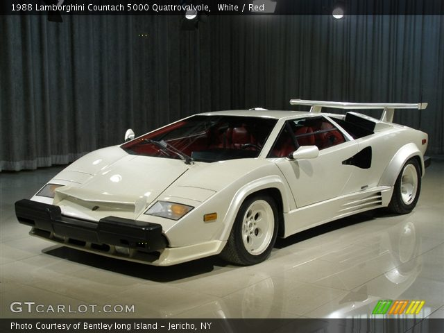 white 1988 lamborghini countach 5000 quattrovalvole red interior vehicle. Black Bedroom Furniture Sets. Home Design Ideas