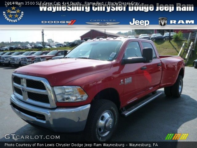 2014 Ram 3500 SLT Crew Cab 4x4 Dually in Flame Red. Click to see large