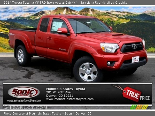 barcelona red metallic 2014 toyota tacoma v6 trd sport access cab 4x4 graphite interior. Black Bedroom Furniture Sets. Home Design Ideas