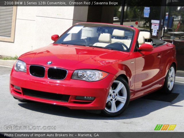 crimson red 2008 bmw 1 series 128i convertible savanna beige interior. Black Bedroom Furniture Sets. Home Design Ideas