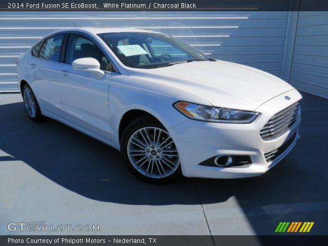 white platinum 2014 ford fusion se ecoboost charcoal black interior vehicle. Black Bedroom Furniture Sets. Home Design Ideas