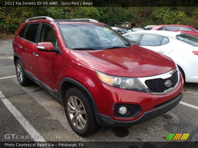 spicy red 2011 kia sorento ex v6 awd beige interior vehicle archive 86616177. Black Bedroom Furniture Sets. Home Design Ideas