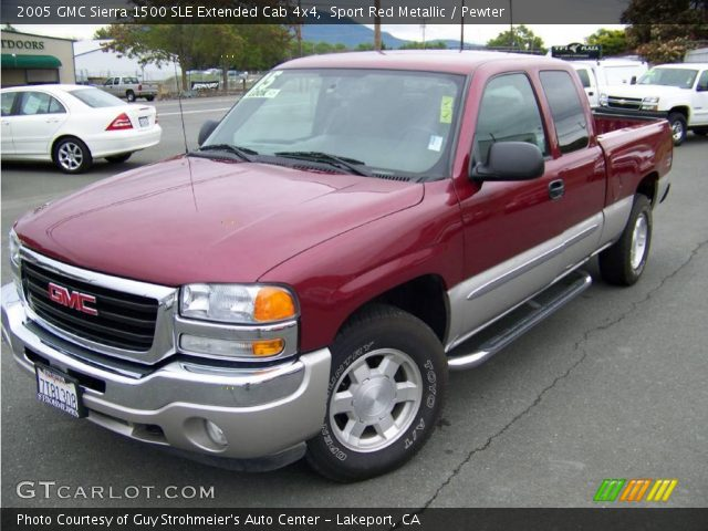 sport red metallic 2005 gmc sierra 1500 sle extended cab 4x4 pewter interior. Black Bedroom Furniture Sets. Home Design Ideas