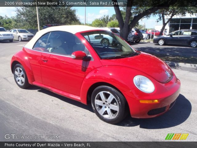 salsa red 2006 volkswagen new beetle 2 5 convertible cream interior vehicle. Black Bedroom Furniture Sets. Home Design Ideas
