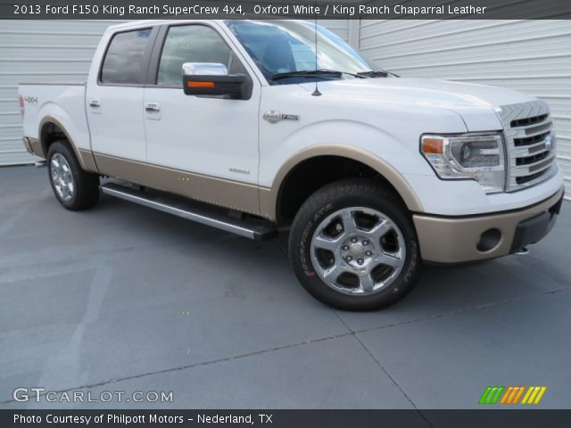 oxford white 2013 ford f150 king ranch supercrew 4x4 king ranch chaparral leather interior. Black Bedroom Furniture Sets. Home Design Ideas