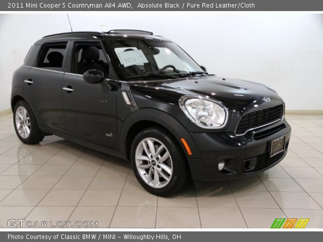 absolute black 2011 mini cooper s countryman all4 awd pure red leather cloth interior. Black Bedroom Furniture Sets. Home Design Ideas
