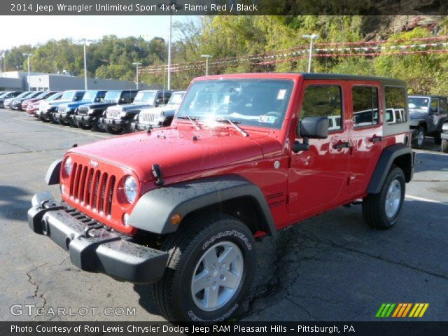 Flame red 2014 jeep wrangler unlimited sport 4x4 black Jeep wrangler unlimited red interior