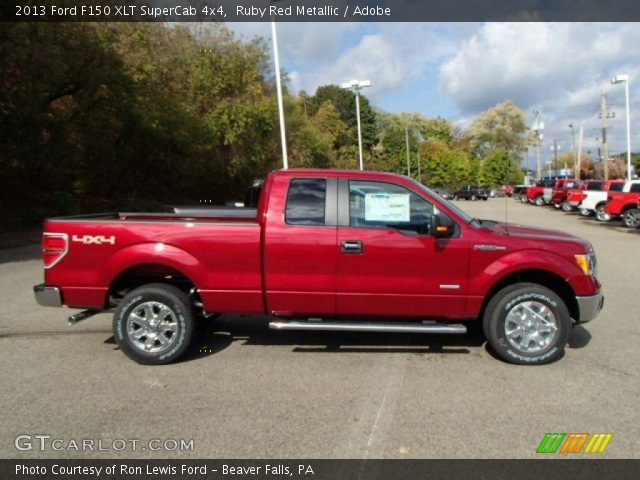 ruby red metallic 2013 ford f150 xlt supercab 4x4 adobe interior vehicle. Black Bedroom Furniture Sets. Home Design Ideas