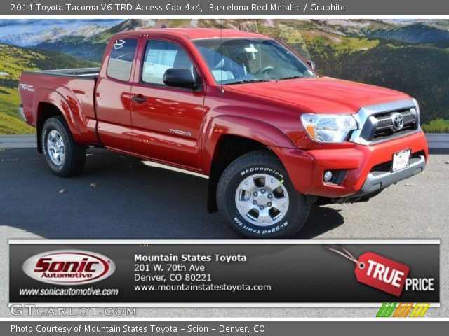 barcelona red metallic 2014 toyota tacoma v6 trd access cab 4x4 graphite interior gtcarlot. Black Bedroom Furniture Sets. Home Design Ideas