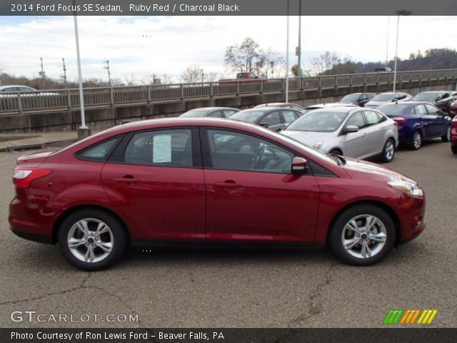 ruby red 2014 ford focus se sedan charcoal black