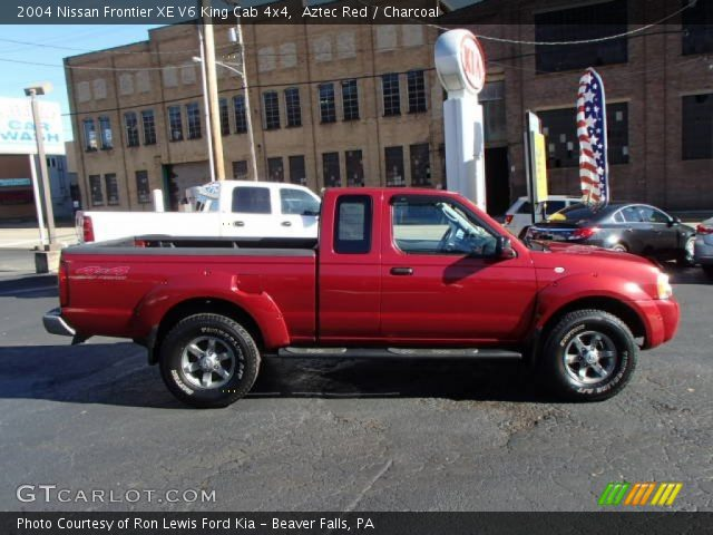 aztec red 2004 nissan frontier xe v6 king cab 4x4 charcoal interior vehicle. Black Bedroom Furniture Sets. Home Design Ideas