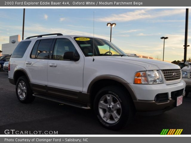 oxford white 2003 ford explorer eddie bauer 4x4 medium parchment beige interior gtcarlot. Black Bedroom Furniture Sets. Home Design Ideas