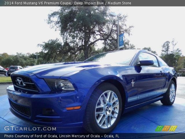 deep impact blue 2014 ford mustang v6 premium coupe medium stone interior. Black Bedroom Furniture Sets. Home Design Ideas