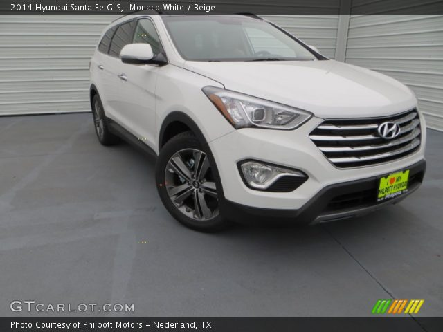monaco white 2014 hyundai santa fe gls beige interior vehicle archive 88769967. Black Bedroom Furniture Sets. Home Design Ideas