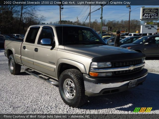 Light Pewter Metallic 2002 Chevrolet Silverado 1500 Ls Crew Cab 4x4 Graphite Gray Interior