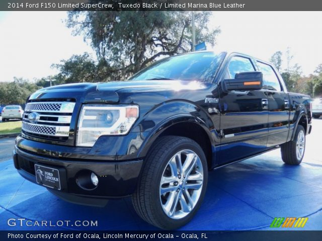 tuxedo black 2014 ford f150 limited supercrew limited marina blue leather interior. Black Bedroom Furniture Sets. Home Design Ideas