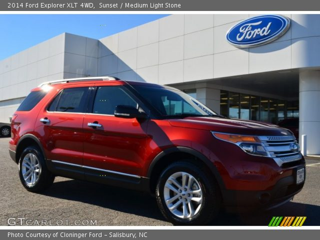 Sunset 2014 Ford Explorer Xlt 4wd Medium Light Stone Interior Vehicle