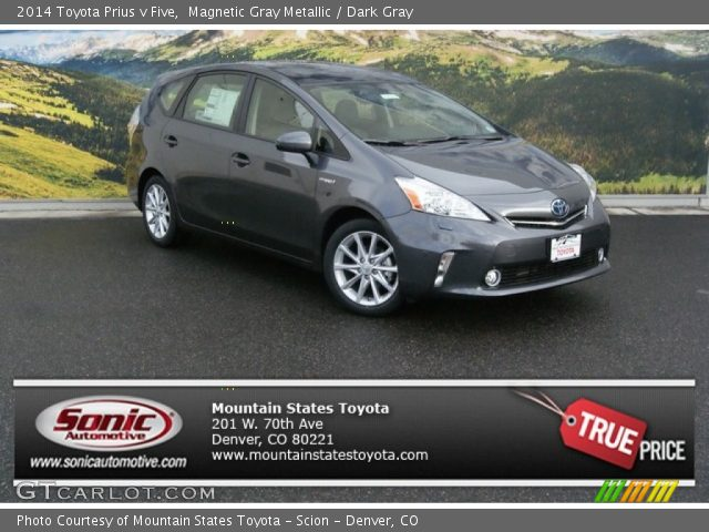 magnetic gray metallic 2014 toyota prius v five dark gray interior vehicle. Black Bedroom Furniture Sets. Home Design Ideas