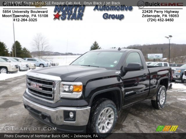 onyx black 2014 gmc sierra 1500 sle regular cab 4x4 jet black interior. Black Bedroom Furniture Sets. Home Design Ideas
