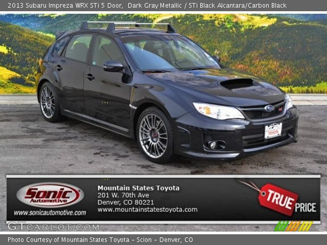 Dark Gray Metallic 2013 Subaru Impreza Wrx Sti 5 Door Sti Black