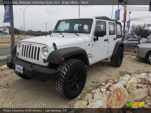 bright white 2013 jeep wrangler unlimited sport 4x4 black interior vehicle. Black Bedroom Furniture Sets. Home Design Ideas