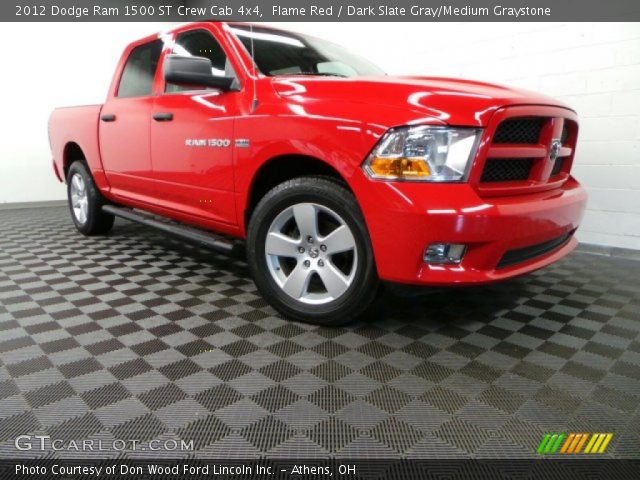 flame red 2012 dodge ram 1500 st crew cab 4x4 dark slate gray medium graystone interior. Black Bedroom Furniture Sets. Home Design Ideas